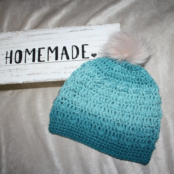 Ombre Teal crochet beanie with fur pom